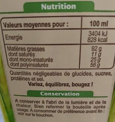 Huile vierge de tournesol bio - Nutrition facts