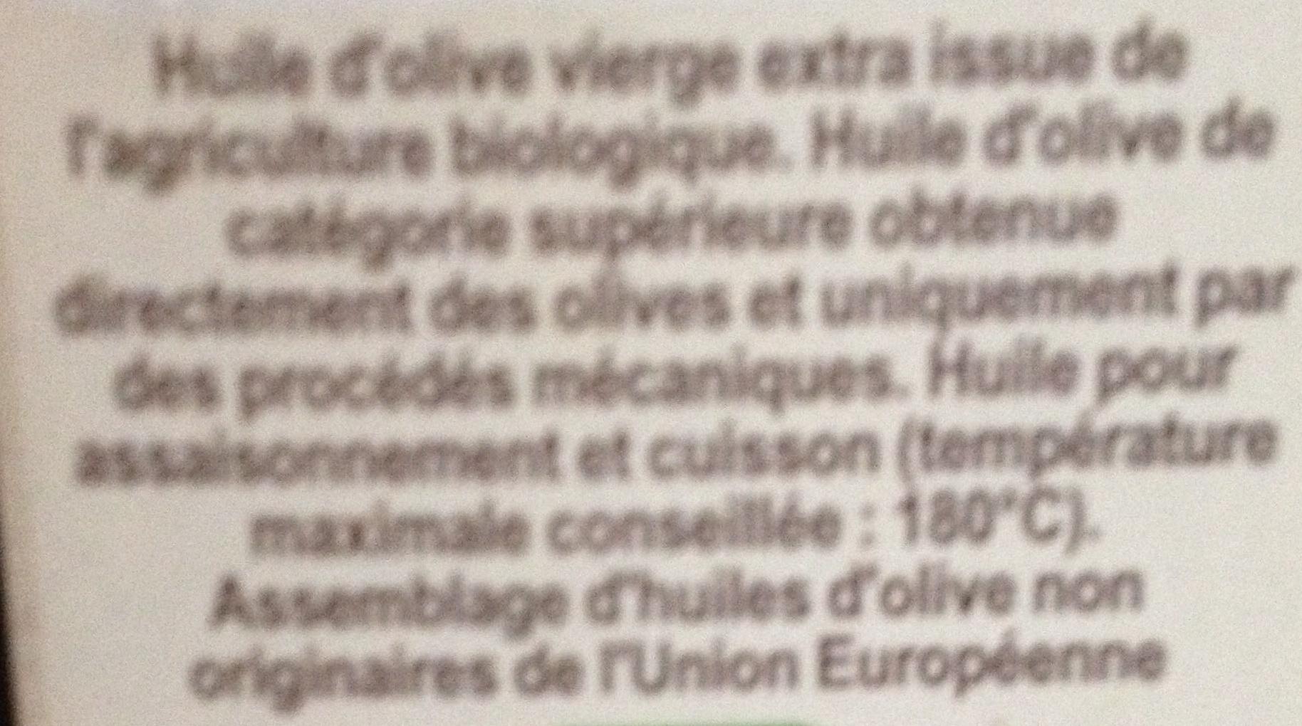 Huile d'olive vierge bio - Ingredienti - fr