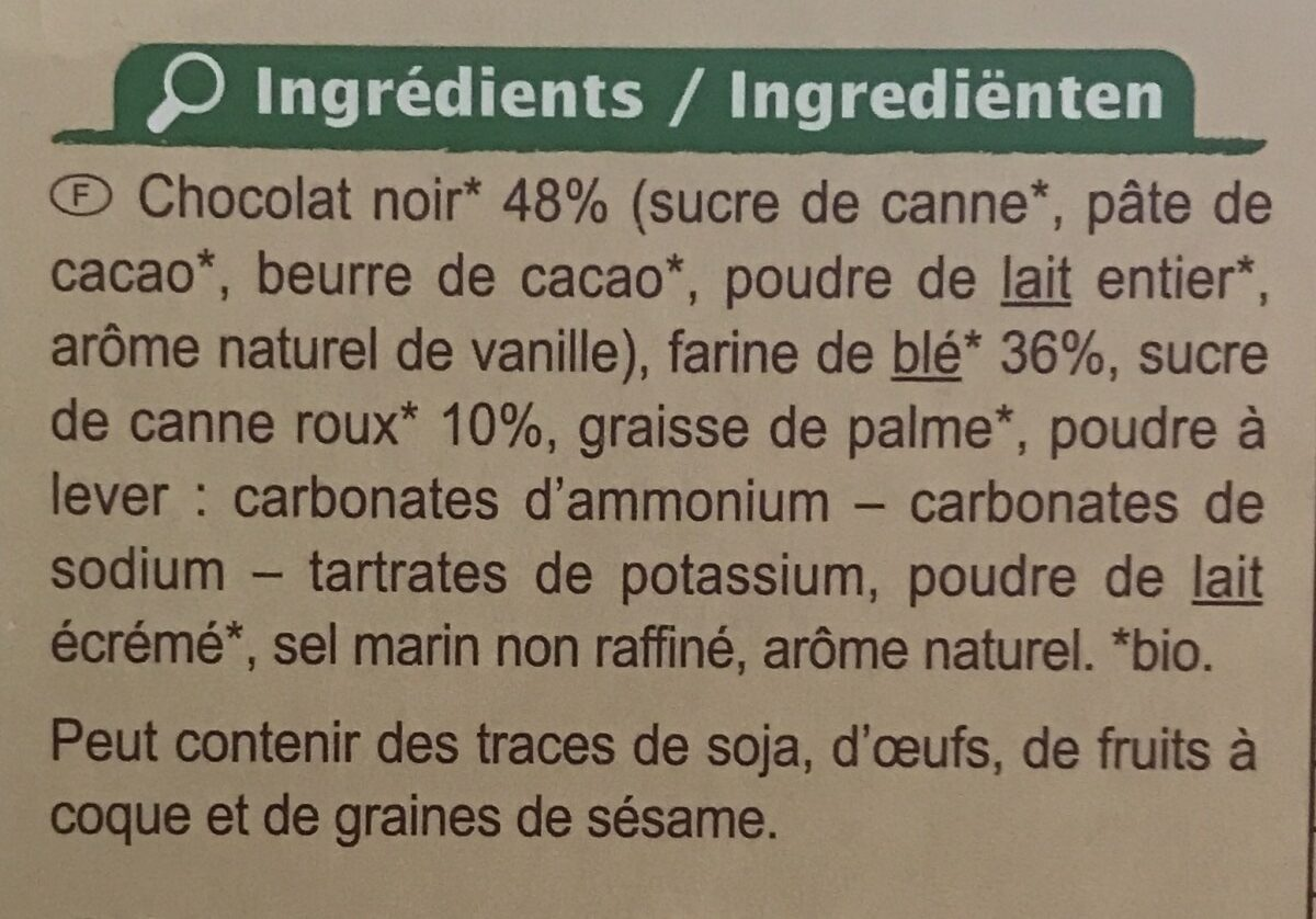 Carrefour Biscuits Chocolat noir BIO - Ingrédients - fr