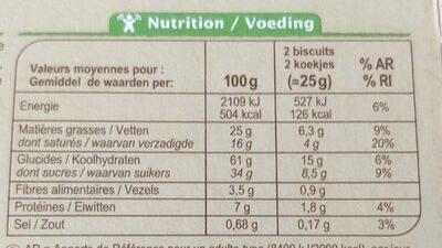 Carrefour Biscuits Chocolat noir BIO - Informations nutritionnelles - fr
