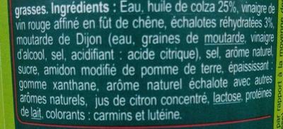 Sauce vinaigrette Échalote allégée - Ingrediënten