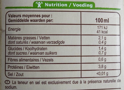 Boisson au soja nature - Valori nutrizionali - fr