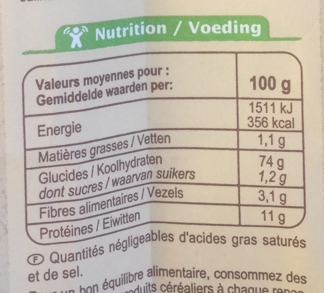 Farine de blé français Type 65 - Nährwertangaben - fr