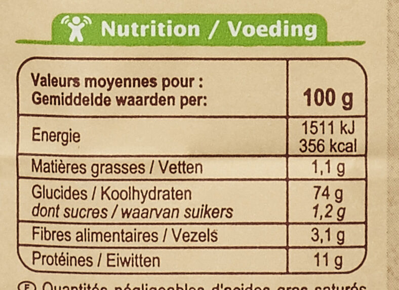 Farine de blé français Type 65 - Voedingswaarden - fr