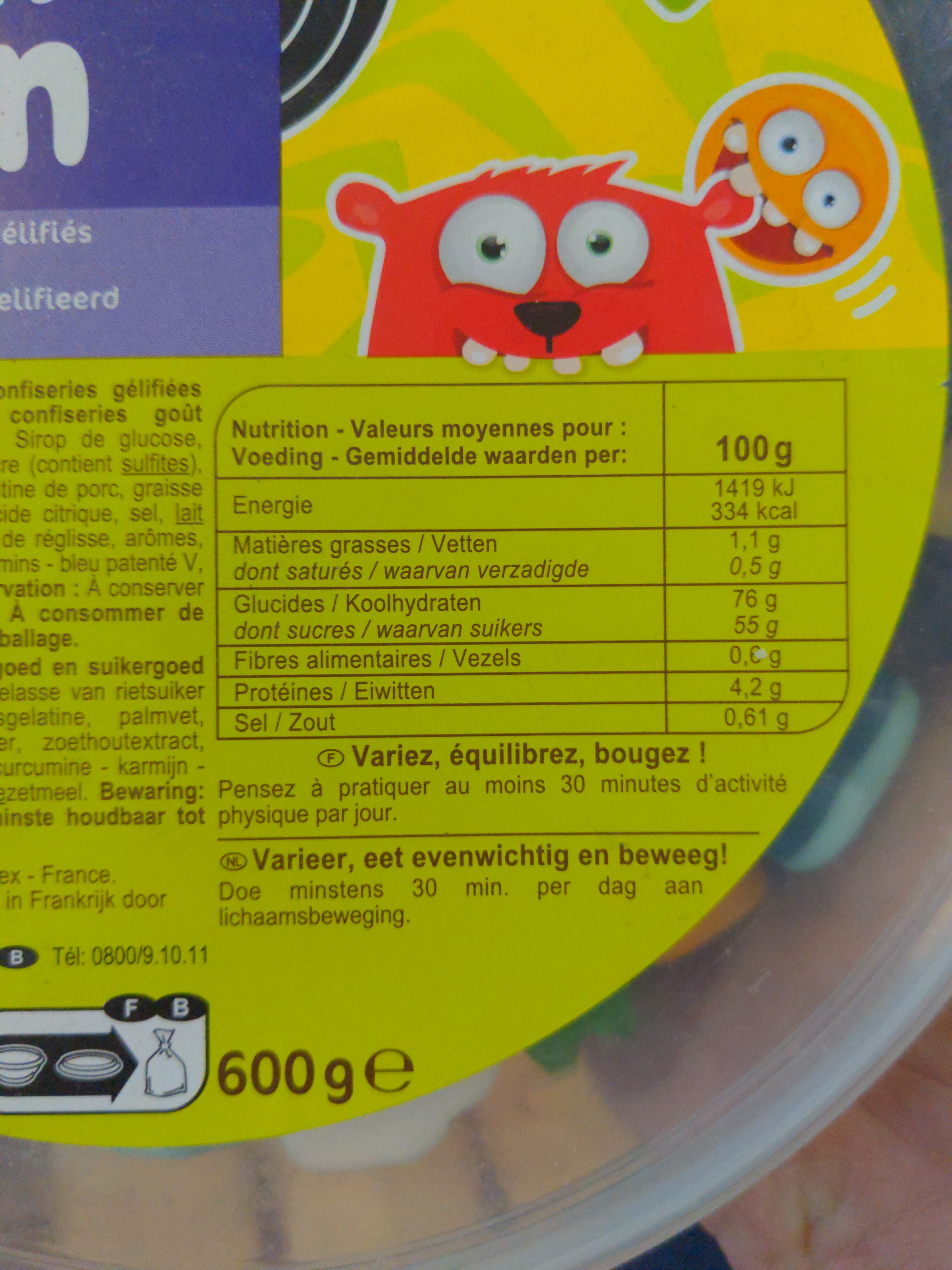 Extra fun - Informations nutritionnelles - fr