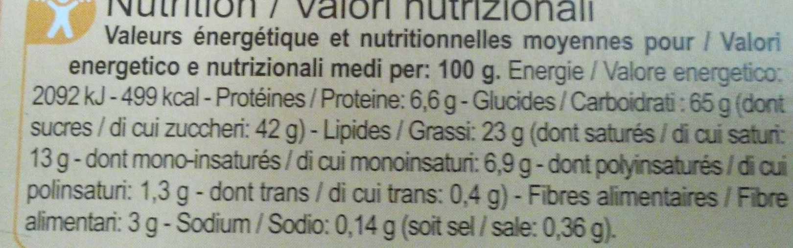 Assortiment biscuits pâtissiers Automne-Hiver - Nutrition facts - fr