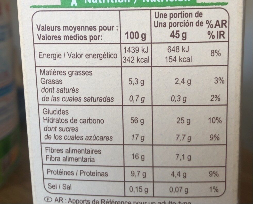 Muesli floconneux 30% fruits secs - Informations nutritionnelles - fr