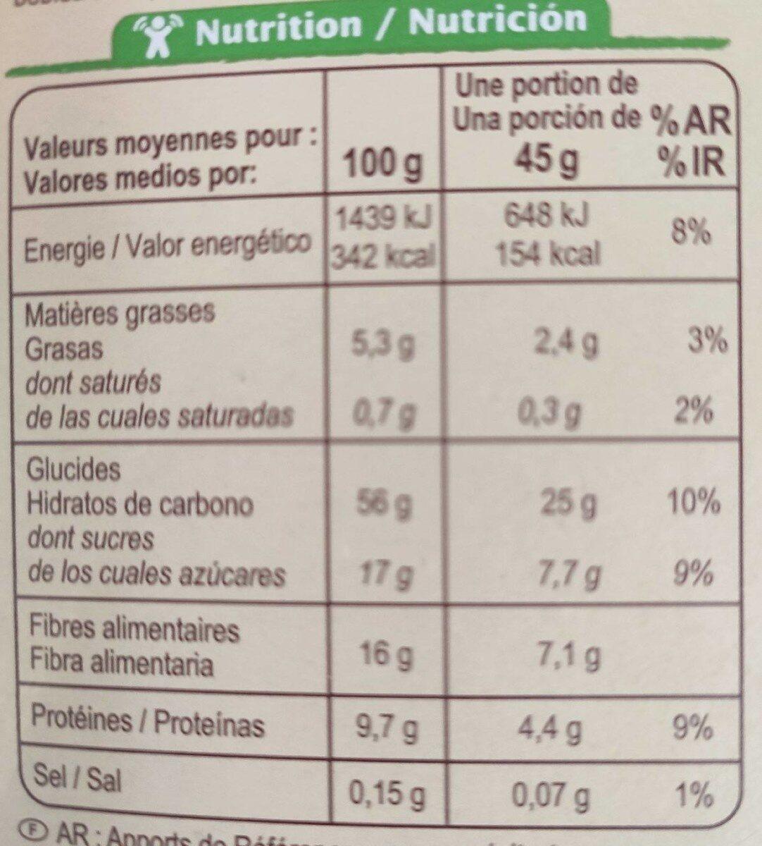 Muesli floconneux 30% fruits secs - Nutrition facts - fr