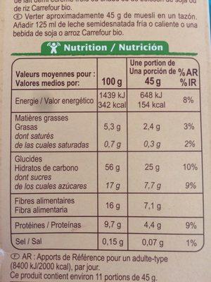 Muesli floconneux 30% fruits secs - Voedingswaarden