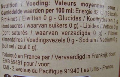Vinaigre de cidre - Voedingswaarden - fr