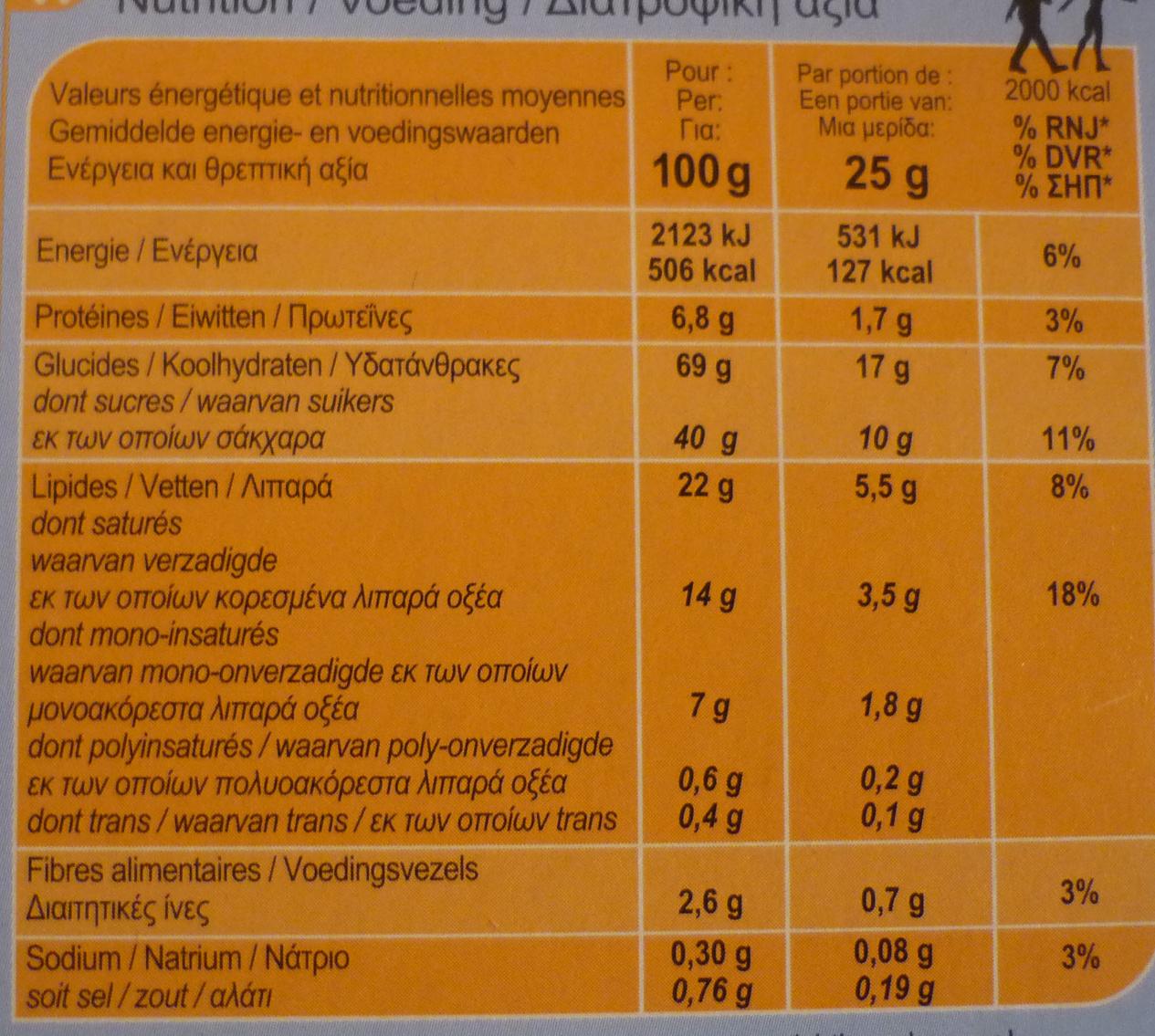 Para llevargalletas de mantequilla tabletachocolate con leche - Informations nutritionnelles - fr