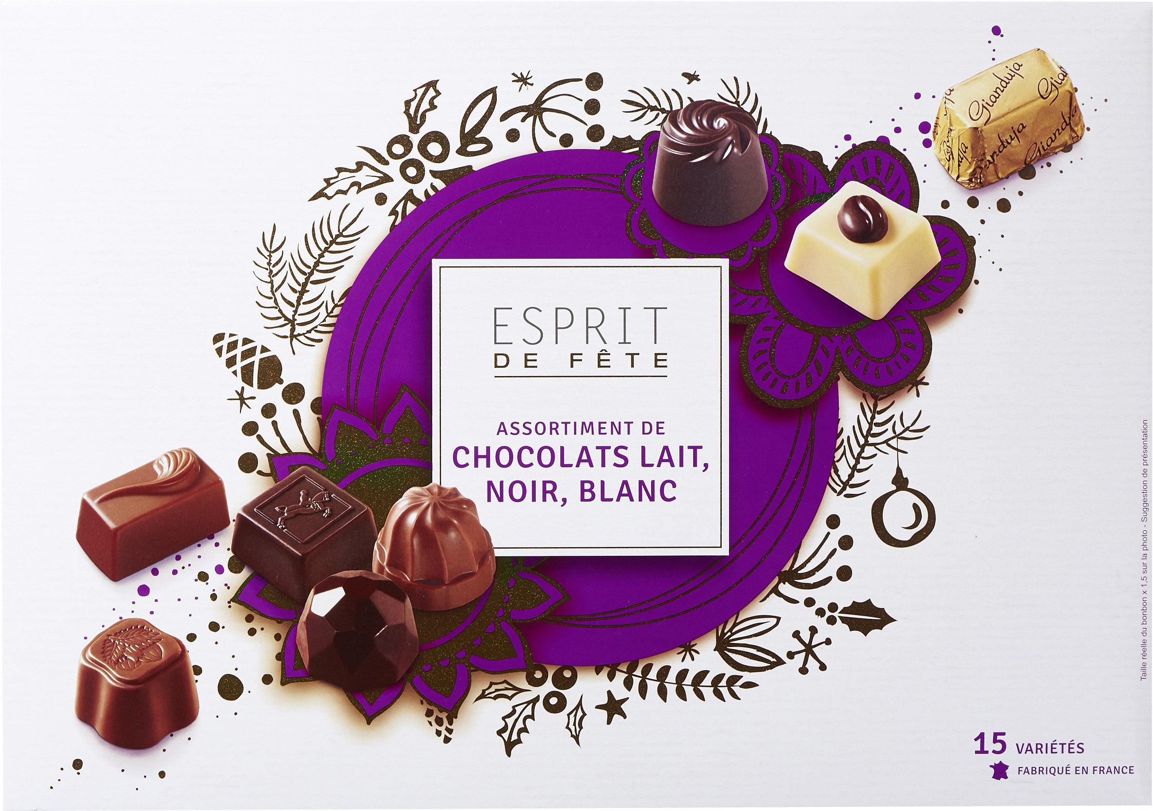 Assortiment de chocolats lait, noir, blanc - Product