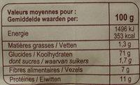 Farine de blé français semi-complète Type110 - Nährwertangaben - fr