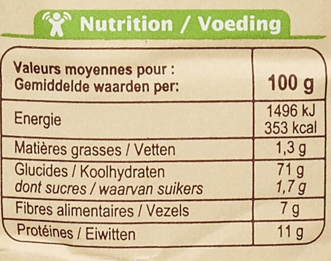 Farine de blé français semi-complète Type110 - Informazioni nutrizionali - fr