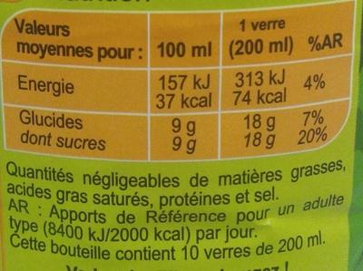 Saveur pomme poire - Informations nutritionnelles - fr
