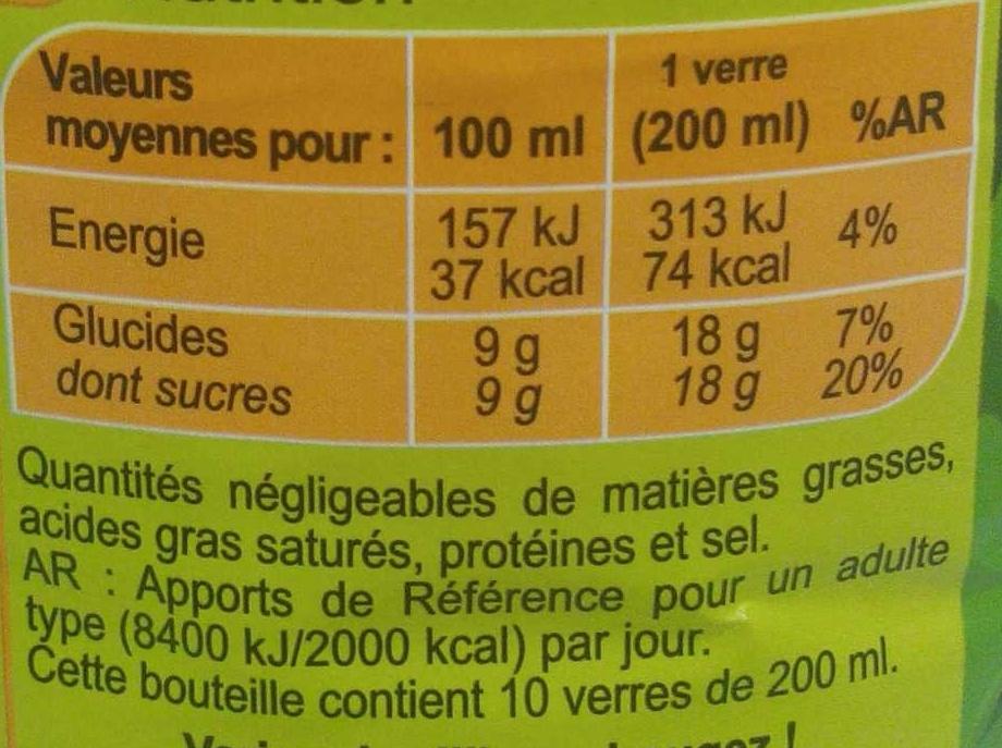 Saveur  pomme poire - Informations nutritionnelles