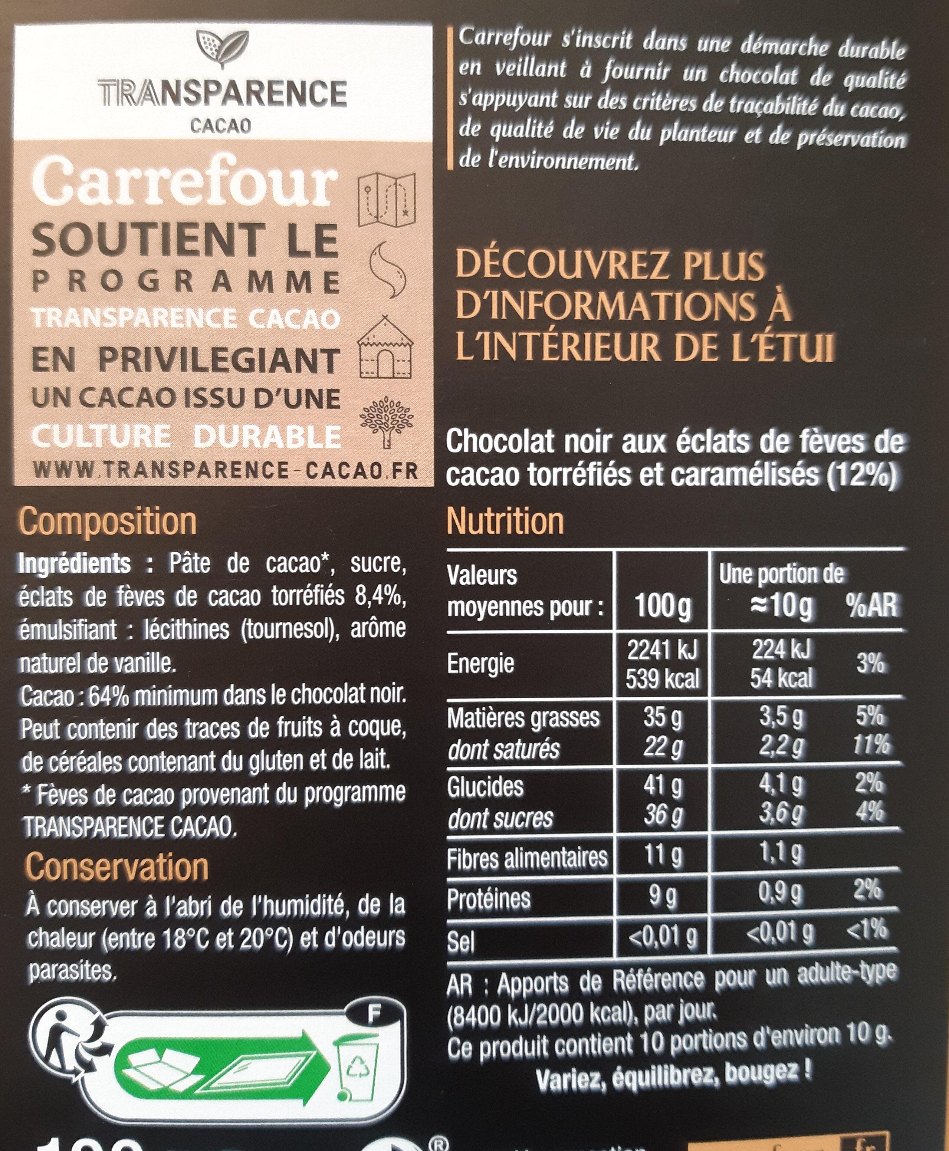 Noir éclats defèves de cacao - Ingrédients - fr