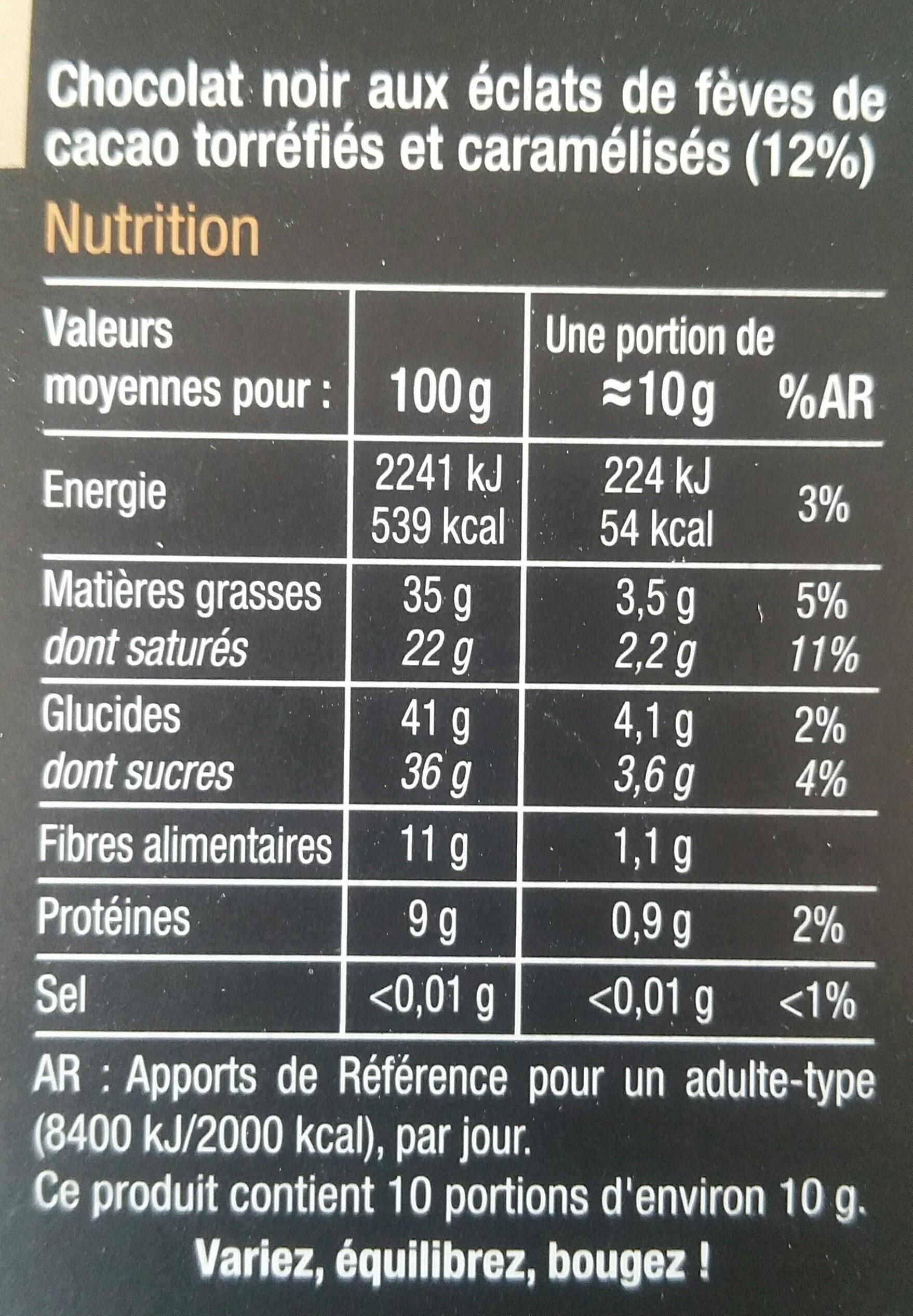 Noir éclats defèves de cacao - Informations nutritionnelles - fr