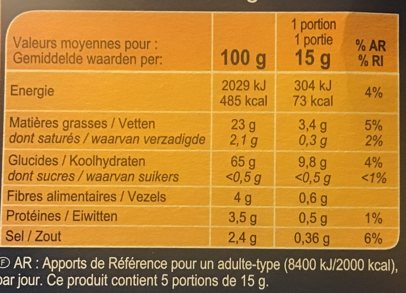 Pétales salés - Nutrition facts - fr