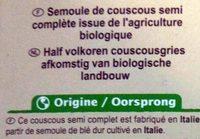 Couscous semi-complet - grains moyens bio - Ingrédients - fr