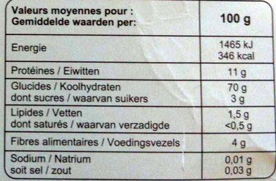 Couscous semi-complet - grains moyens bio - Informations nutritionnelles - fr