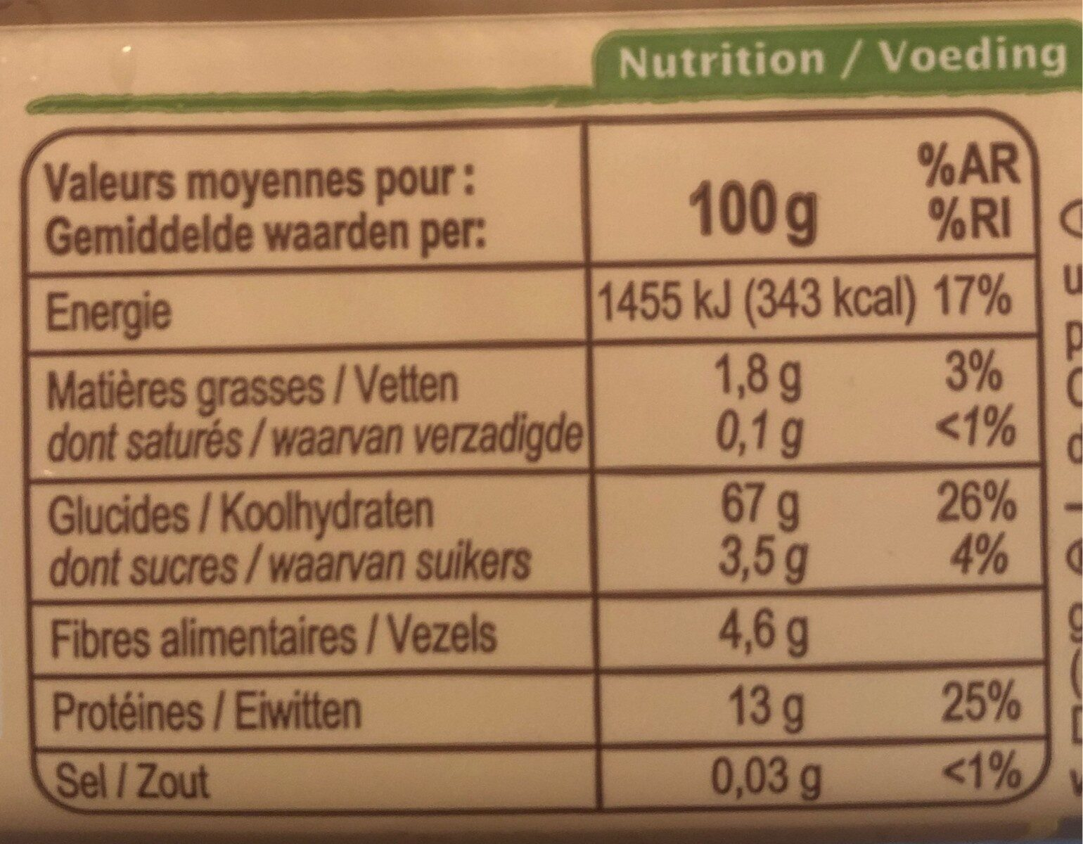 Spaghetti semi-complets - Informations nutritionnelles - fr