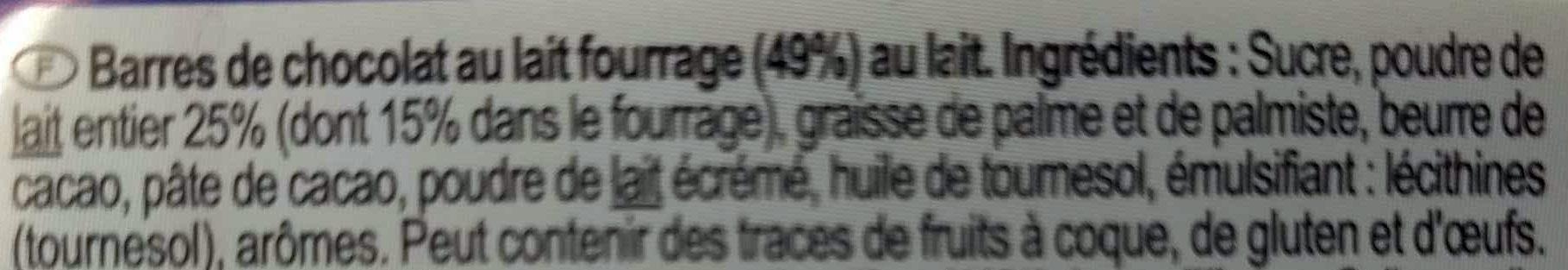 Mini barres Chocolat au lait - Ingredientes - fr