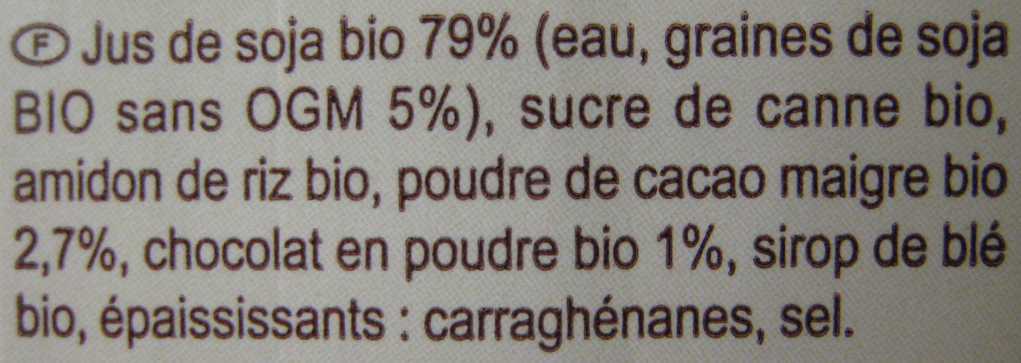 Dessert au soja, Saveur chocolat - Ingrédients - fr