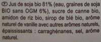 Dessert au soja, Saveur vanille - Ingredients