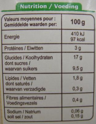 Dessert au soja, Saveur vanille - Nutrition facts