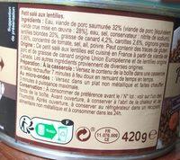 Petit salé traditionnel aux lentilles - Ingrediënten - fr