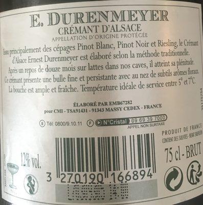 Crémant d'Alsace Brut - Ingrédients - fr