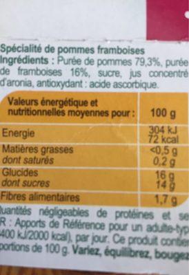Pomme Framboise  Compotes allégées en sucres * - Ingrédients - fr