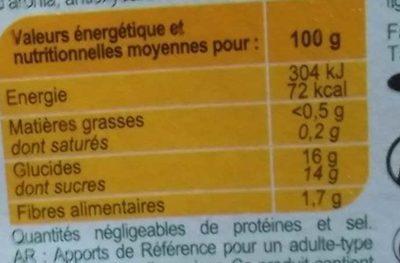 Pomme Framboise  Compotes allégées en sucres * - Informations nutritionnelles - fr