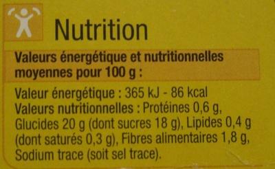 Pomme Banane Compotes allégées en sucres* - Informations nutritionnelles - fr