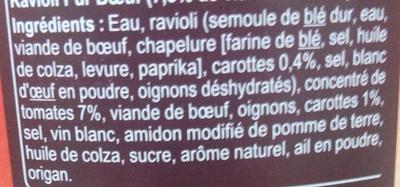 Ravioli, Pur Bœuf - Ingredients