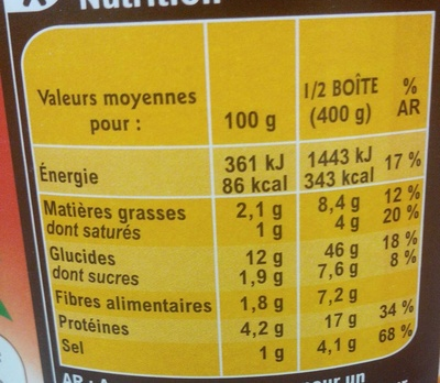 Ravioli, Pur Bœuf - Nutrition facts
