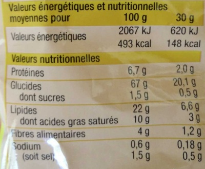 Tortilla chips goût fromage - Informations nutritionnelles - fr