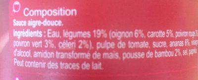 Aigre douce - Ingrediënten