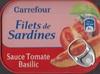 Filets de sardines, sauce tomate et petits légumes sans huile - Produit