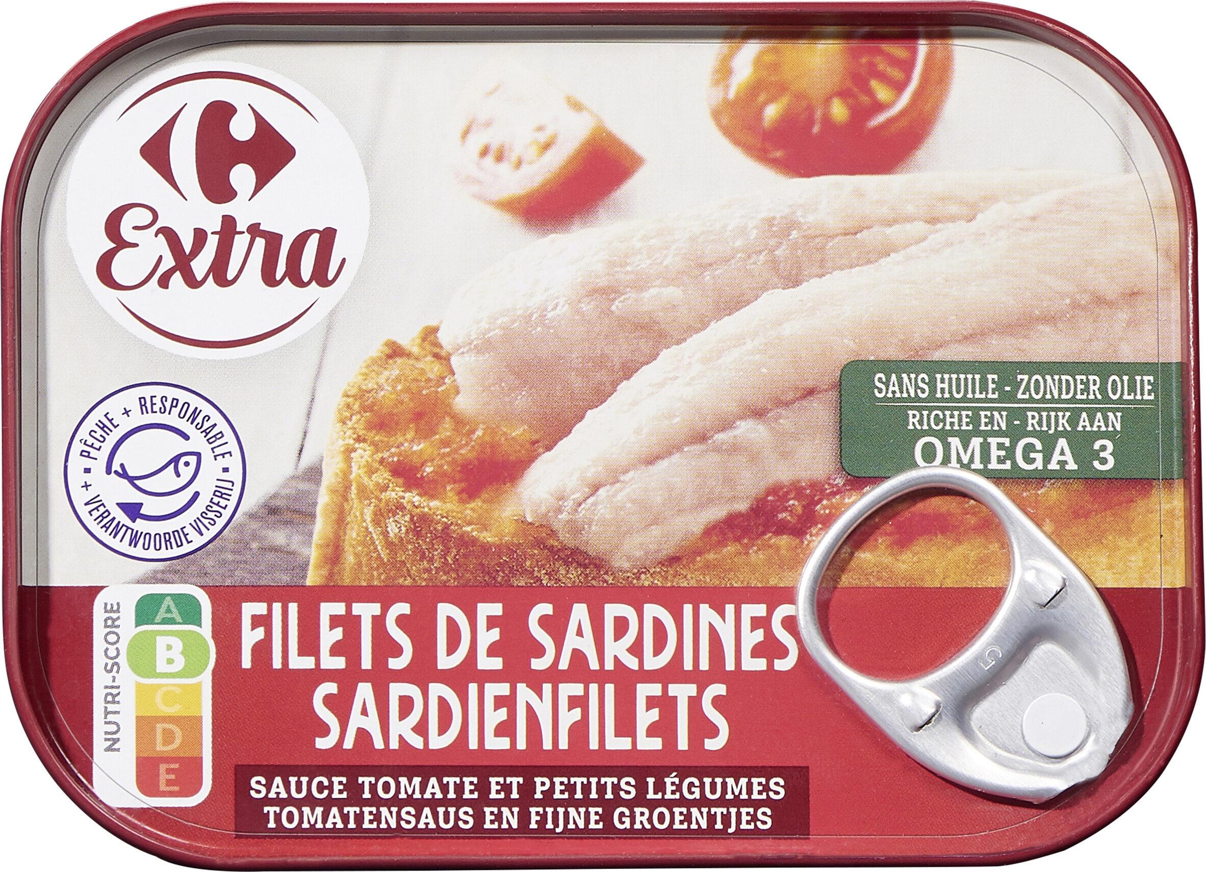 Filets de sardines, sauce tomate et petits légumes - Produit - fr