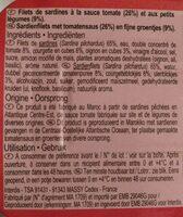 Filets de sardines, sauce tomate et petits légumes - Ingrédients - fr