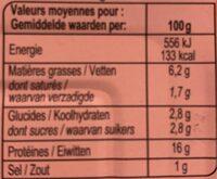 Filets de sardines, sauce tomate et petits légumes - Informations nutritionnelles - fr
