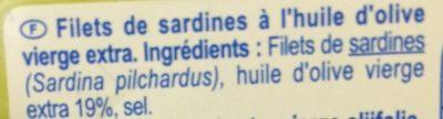 Filets de Sardines à l'huile d'olive vierge extra - Ingrediënten - fr