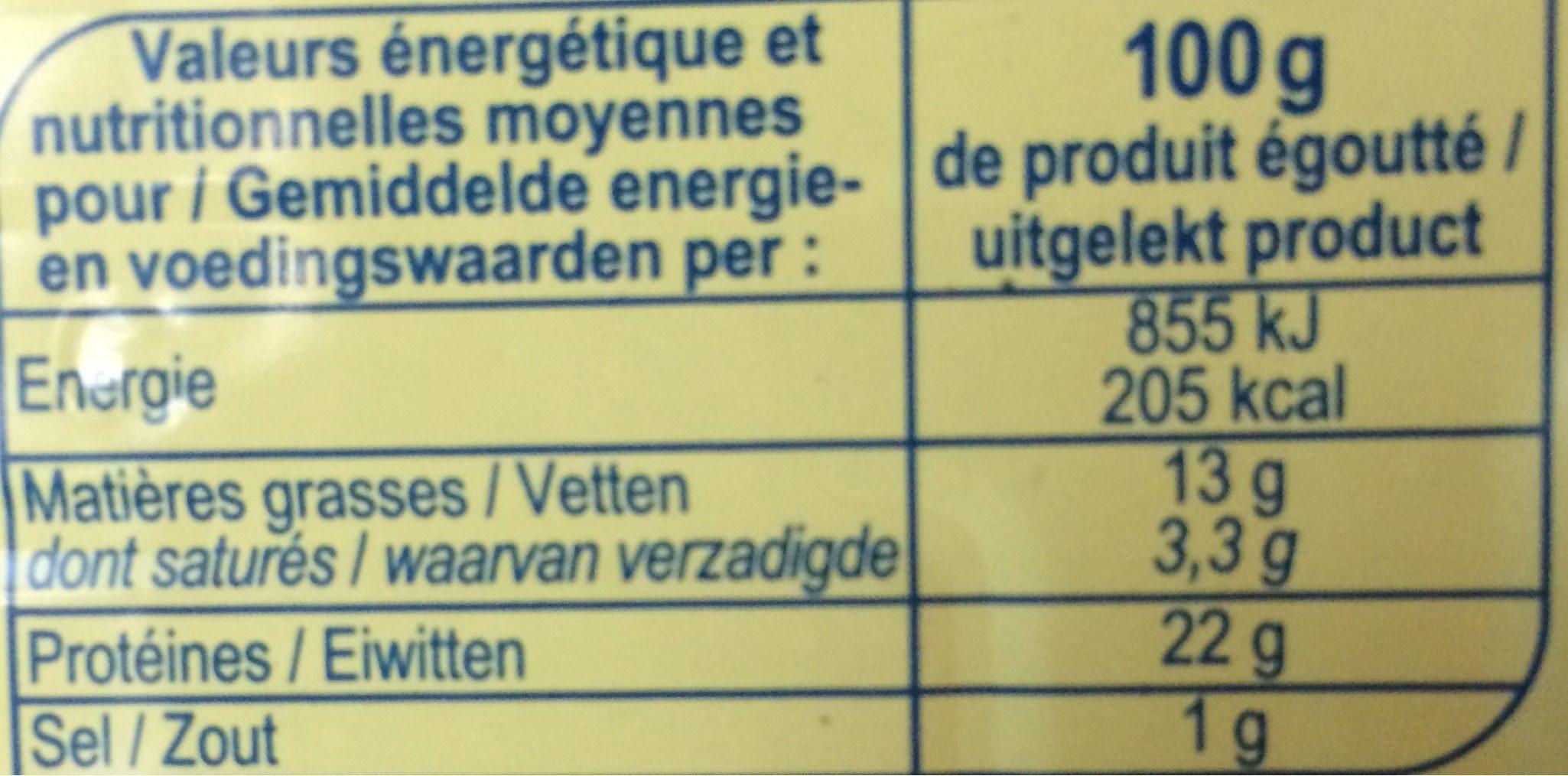 Filets de Sardines à l'huile d'olive vierge extra - Voedingswaarden - fr