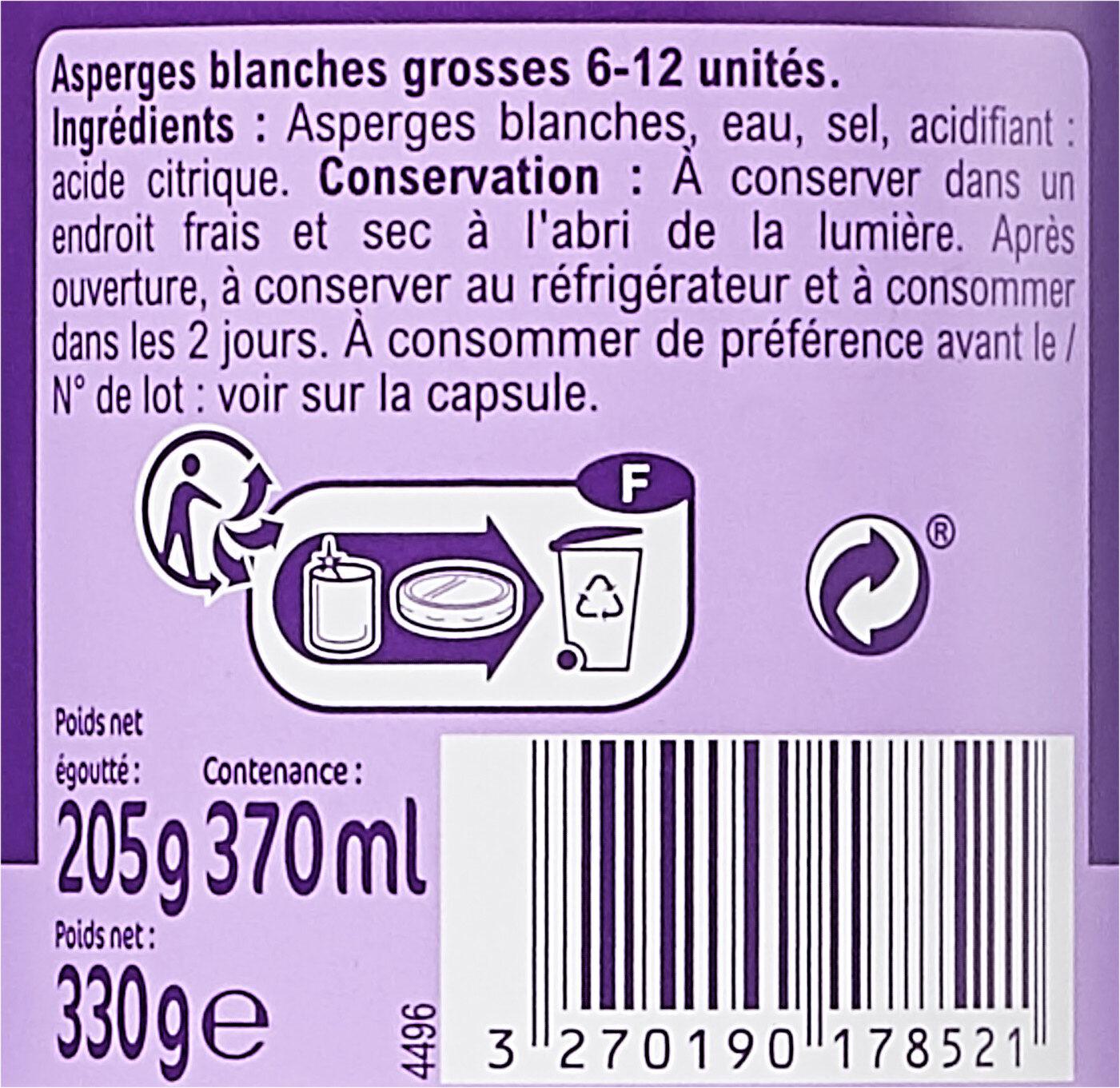 Asperges blanches grosses - Ingrédients - fr