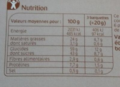Barquettes chocolat noisette - Nutrition facts - fr