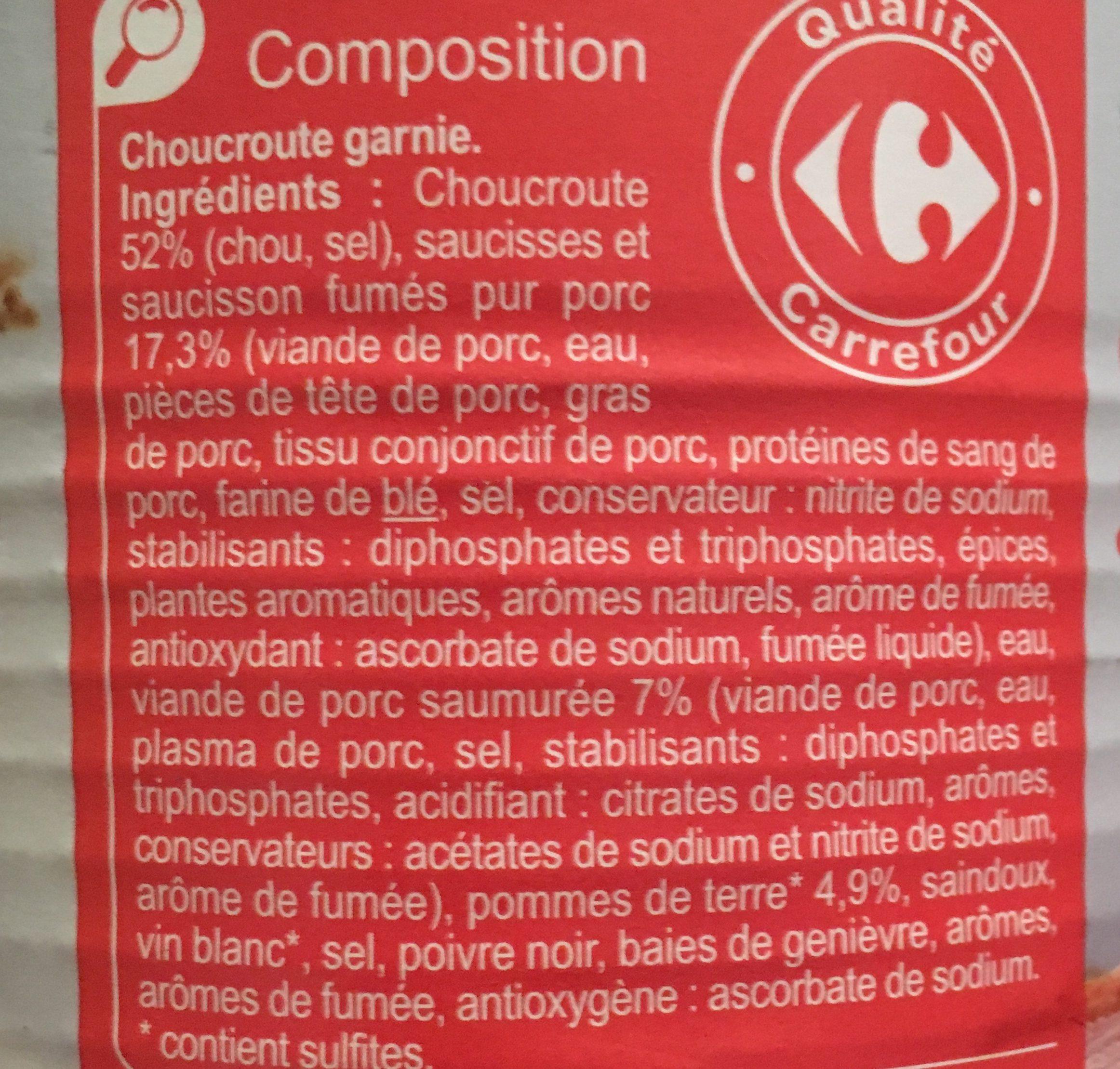 Choucroute garnie Pur Porc - Ingrédients - fr