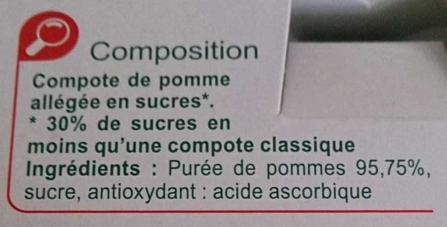 Pomme Compotes allégées en sucres* - Ingrédients - fr