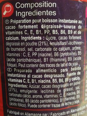 Préparation pour boisson instantanée Goût Choco - Ingredients - fr